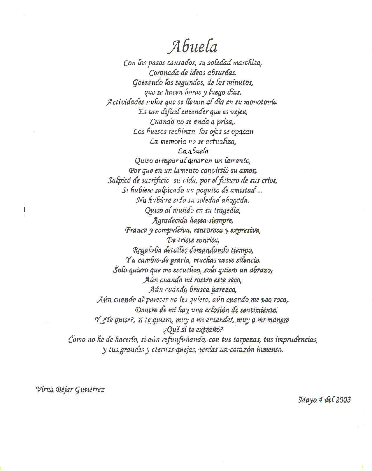 Carta escrita por Virna para la abuela